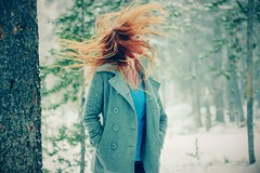 (Jessica Neuwerth (Fearless)) Tags: winter portrait selfportrait snow green girl pine forest self hair grey woods december redhead pines snowing forests con