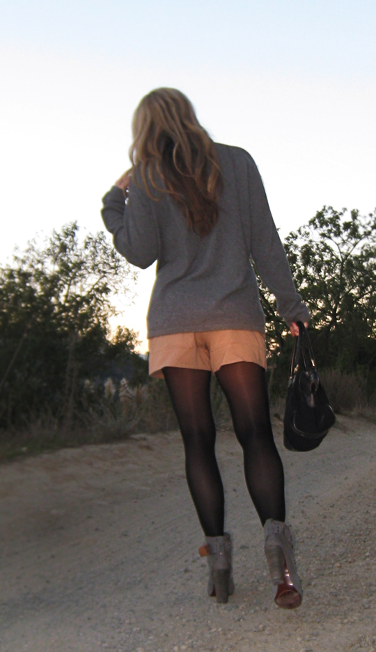 shorts and tights and boots+gray cashmere sweater+vintage gucci bag+the hills of LA
