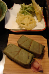 Persimmon wrapped sushi and tempura, Nara (eltpics) Tags: food japan japanese stuffed wrapped persimmonleaves eltpics