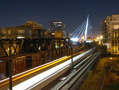 late night line 22 (pbo31) Tags: city trip travel bridge blue light urban usa black west color night america canon moving movement colorado downtown crossing traffic favorites move denver structure september co pm 2007 roadway urbanlife lightstream