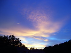 7:18pm (#607) (38 LN 38) Tags: blue sunset wallpaper sky black color nature yellow clouds personalfavorite frontyard desktopwallpaper softcolors sunsetwallpaper