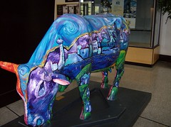 Cow Parade (cheddarmelt) Tags: las vegas red art sahara rock museum cow day weekend library labor parade strip