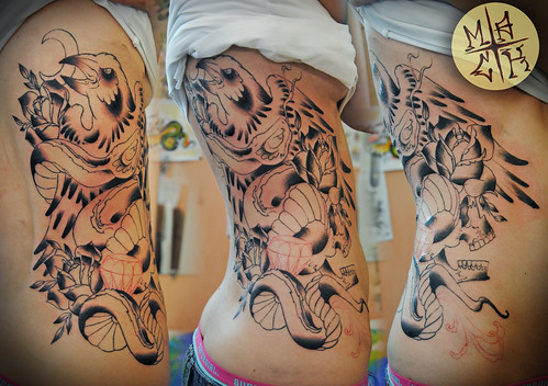 The Best Eagle Tattoo on Girl Waist
