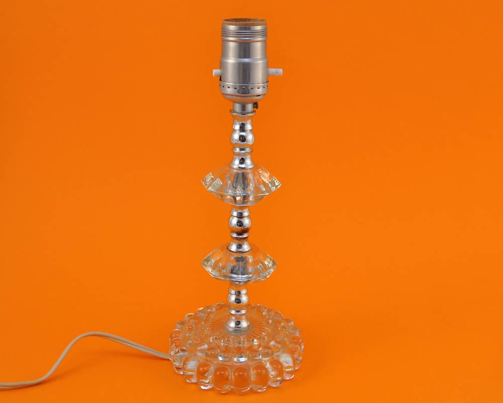 Vintage Shabby Chic Glass Lamp Base