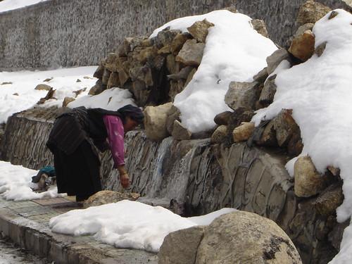 Nyalam lavando en agua congelada