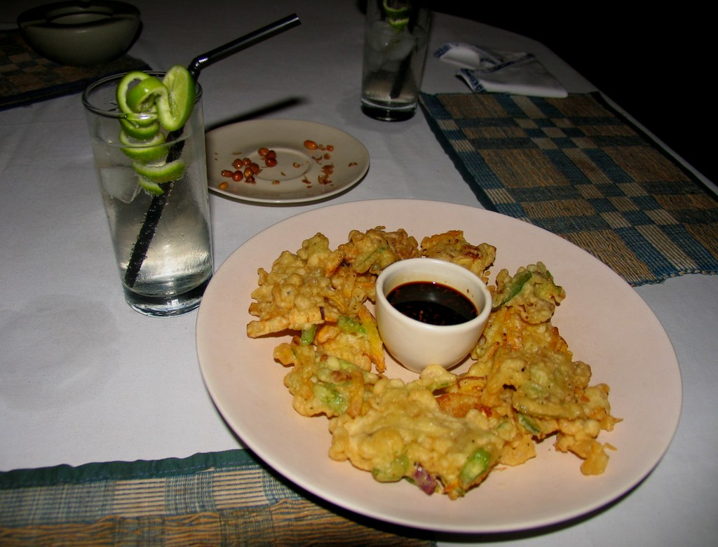 Amazing tempura at Komang John Cafe (with cute curly lime in vodka tonic)