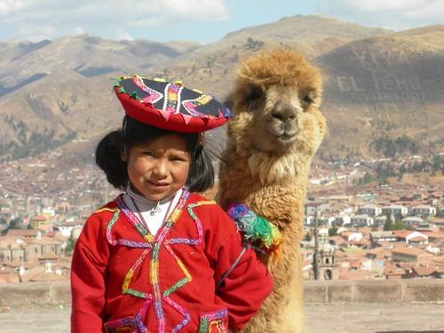 Girl, llama