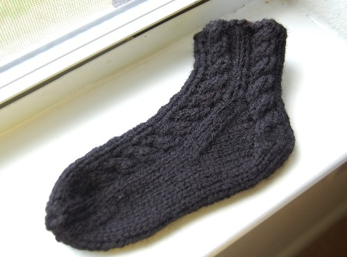 cabled toddler sock
