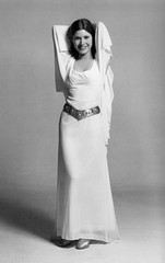 Carrie Fisher as Princess Leia (jackonflickr) Tags: blackandwhite white smile star starwars belt dress princess carriefisher fisher wars carrie gown iv leia notmyphoto anewhope organa themakingofstarwars