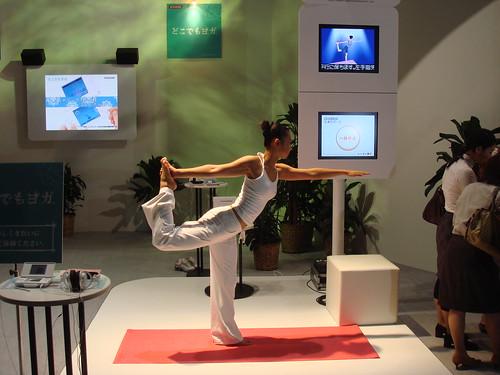 haciendo yoga con el nintendo wii fit juego de video