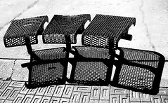 connected (ArtsySFMarjie) Tags: shadow bw favorite white black metal blackwhite shadows books seats myfave lark shadowart oneofmybest rbuhs ihaiku colorfulworldblackwednesday73008