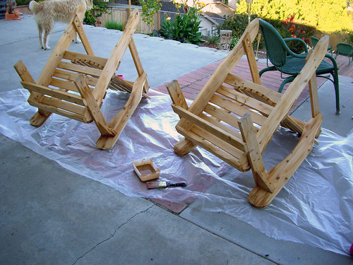 Staining the adirondack chairs