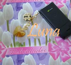 Colgante para celular Dorado cristalino (Ale G) Tags: san celular cristo valentin corazon llavero colgante manualidad