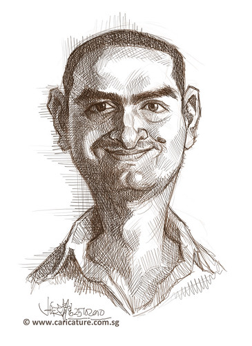 digital caricature sketch of Amir Taqi