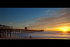 san clemente sunset (Eric 5D Mark III) Tags: ocean california sunset sky people cloud seascape color reflection beach canon landscape golden pier surfer father daughter perspective wideangle orangecounty sanclemente tone ef1635mmf28liiusm eos5dmarkii