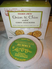 Onion & chive seeded corn crackers and kalamata olive hummus (packaged)