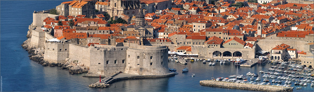 Panorama of Dubrovnik town in Croatia