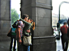 love is a kiss without the world around (Vulk.an) Tags: life street boy love film girl rain movie torino interestingness hug kiss pluie lovers explore amour portfolio turin pioggia stazione amore bacio rainingday abbraccio amanti portanuova diecicento 8love tcningresso 8stampa savevulkan