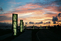 kowloon west promenade (* tathei *) Tags: city sunset sky cloud west film 35mm hongkong natura s 1600 promenade fujifilm kowloon klasse