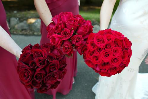 brudebuket røde roser