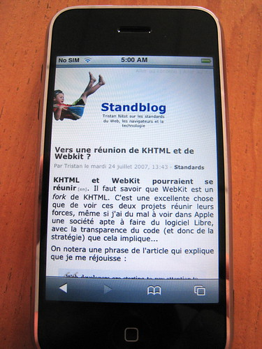 Le Standblog sur un iPhone d'Apple