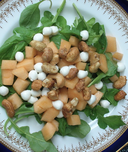 summer salad with melon and cashews