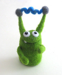 zzzzt. (made by moxie) Tags: green wool goofy whimsy fiber moxie roving bff fingerpuppet needlefelted dryfelting dryfelted madebymoxie electricpuppet teslaneedlefelted