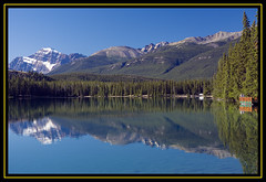 Lac Beauvert and Mount Edith Cavell (melmark44) Tags: morning blue sky mountain snow canada mountains nature water beautiful reflections azure glacier snowcapped alberta canon5d canonef2470mmf28lusm azur jaspernationalpark beautifulscenery glacial mtedithcavell mountedithcavell lacbeauvert cloudlesssky beautifullandscape azurelake azurewater azuresky keepexploring melmarkowitz southjasperrange azursky azurwater azurlake 2007melvinmarkowitzallrightsreserved