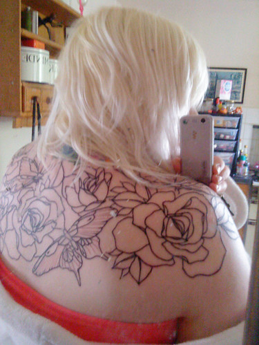 Linework of my upper back piece by Tiny Miss Becca