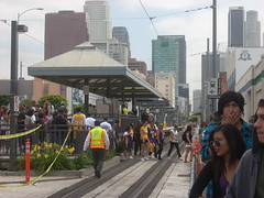 Paradegoers exiting Pico Blue Line Station