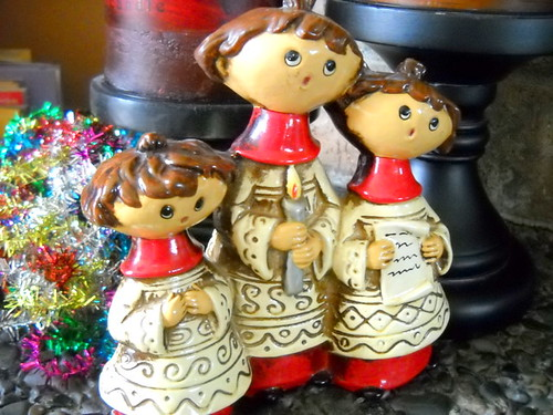 Sweet Trio of 1970's Vintage Christmas Carolers Figurine