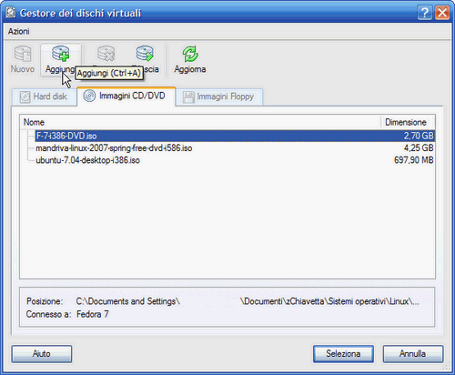 VirtualBox - Gestore dei dischi virtuali: pulsante Aggiungi immagine ISO d'installazione