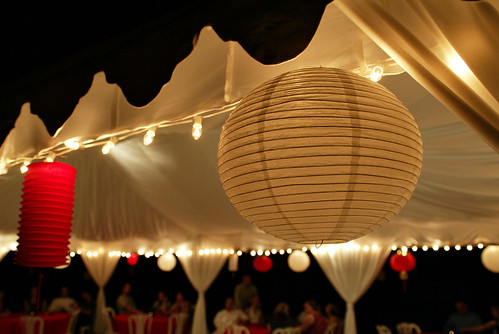 Chinese lanterns in our wedding colors of red and white