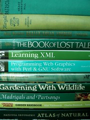 Green Books (Vicki's Pics) Tags: green oreilly words greenisbeautiful books xml patricia marigold gnu tolkien perl nationalgeographic alantitchmarsh groundforce interestingness267 i500 interestingness293 gracelivingstonhill reallytrulystories bookoflosttales programmingwebgraphicswithperlgnusoftware gardenhandbook learningxml searchforsolutions gardeningwithwildlife madrigalsandpartsongs