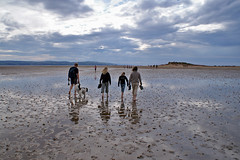 Walking to Hilbre Island (chris-parker) Tags: sky cloud west beach clouds landscape island landscapes kirby sand tide tidal wirral hilbre