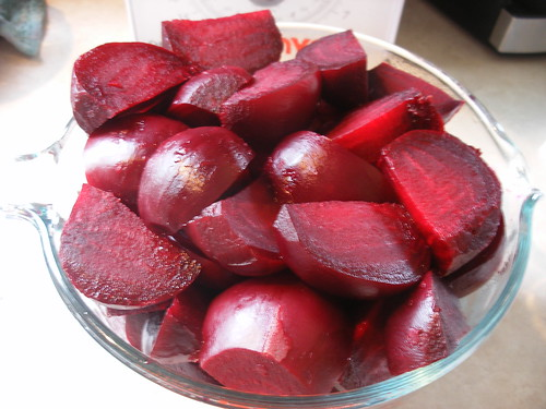 Sliced beets.