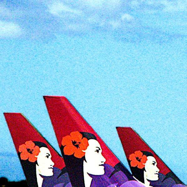 Three Hawaiian Airlines airplane tails in Honolulu Airport (c) David Ocker