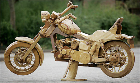 Harley-Davidson made of wood