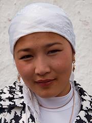Young woman (Evgeni Zotov) Tags: portrait people woman white beautiful beauty smile look scarf asia village headscarf young earring jewellery kyrgyz kyrgyzstan kirghizistan kirgistan kirgizia alay kirgizistan karamyk kirgizi kirgisistan  kirguistan kirghizia krgzistan quirguisto          chonalay