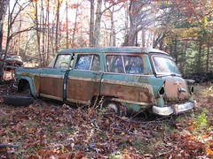 A JUNK 1956 FORD COUNTRY SQUIRE IN NOV 2010 (richie 59) Tags: blue autumn trees cars ford abandoned car outside weeds woods junk rust rusty upstateny faded chrome rusted upstatenewyork newyorkstate junkyard fords taillights taillight rustycar obsolete stationwagon bluecar 2010 backend wornout nystate rustycars rustyoldcars rustyoldcar americancars abandonedcar hudsonvalley fomoco junkyards countrysquire fordcountrysquire fakewood manorville americancar motorvehicles fadedpaint ulstercounty abandonedcars junkcar 4door bluecars plasticwood junkcars uscar uscars stationwagons 1950scar 1950scars fourdoor oldrustycar ulstercountyny oldstationwagon 1956ford fordstationwagon oldrustycars oldstationwagons rustyford manorvilleny richie59 nov2010 nov22010 1956fordcountrysquire americanstationwagon