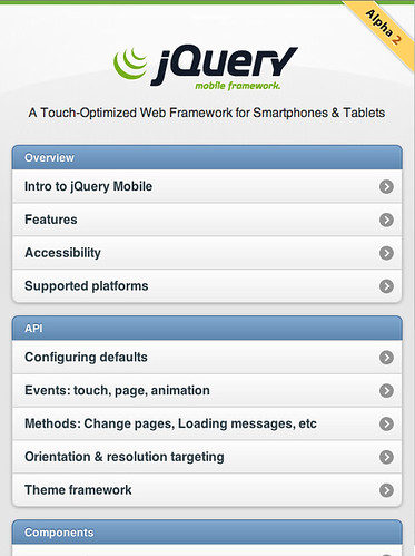 jQuery Mobile 1.0 Alpha 2