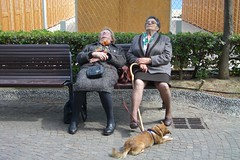 after a lifelong hard work (fi0na) Tags: two dog chien cane bench siesta donne rest lungomare sonno due panchina arenzano sonnellino