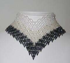 Black Tie, netted v-neck choker (nysidra) Tags: jewelry bead swarovski etsy miyuki beaded choker beadwork delica handmadejewelry beadweaving beadcrochet seedbead