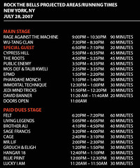 Rock The Bells Festival 2007 - New York Schedule Day 1