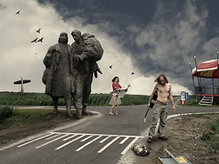 Crossroads (summer crossing) (Mattijn) Tags: music signs statue cat crossing guitar stage photomontage glider crows crossroads pino mattijn anideg