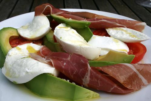 Mozzarella Tomato Avocado Parma Ham Salad