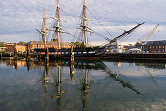 U.S.S. Constitution (aaron_j_o) Tags: wood old blue red sky cloud brown white black color reflection wet water colors boston clouds sailboat out outdoors photography boat wooden colorful paint ship image cloudy historic reflect photograph transportation sail sailboats ussconstitution