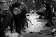 Laugh more often (Celeste) Tags: street bw selfportrait me girl beautiful smile wind palermo pelambre celesteromero