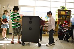 Students using Dell Mobile Computing Cart