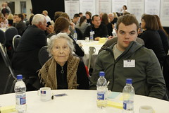 Oldest woman and youngest man together at a table